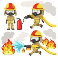 giovane che indossa l'uniforme da vigile del fuoco e una maschera tossica protettiva vettore