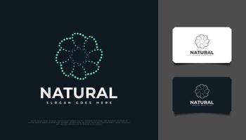 design del logo del fiore a spirale con stile punteggiato in blu e verde, adatto per spa, bellezza, fioristi, resort o prodotti cosmetici vettore