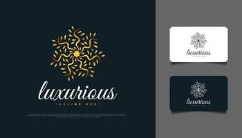 design del logo del fiore d'oro di lusso. ornamento in foglia d'oro, adatto per spa, bellezza, fioristi, resort o identità di prodotti cosmetici vettore