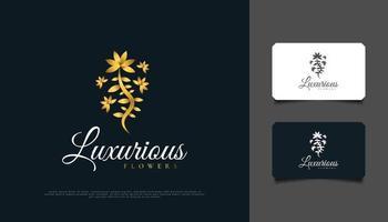 design del logo di fiori dorati di lusso, adatto per spa, bellezza, fioristi, resort o prodotti cosmetici vettore