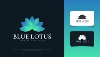 elegante design del logo del fiore di loto blu, adatto per spa, bellezza, fioristi, resort o identità di prodotti cosmetici vettore