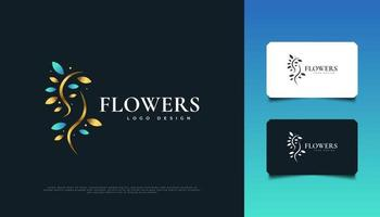 design elegante del logo di fiori in blu e oro, adatto per spa, bellezza, fioristi, resort o identità di prodotti cosmetici vettore
