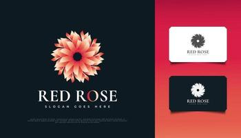 elegante design del logo del fiore della rosa rossa, adatto per spa, bellezza, fioristi, resort o prodotti cosmetici vettore