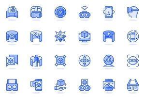 icona della linea piatta del web di realtà virtuale vettore