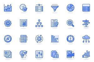 icona linea piatta web di analisi dei big data vettore