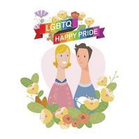 coppia maschile lgbtq felice orgoglio. c'è un personaggio di coppia tra i fiori e un nastro arcobaleno su di esso. vettore