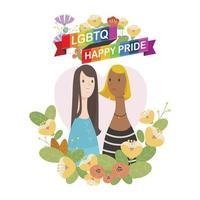 lgbtq felice coppia femminile orgoglio. c'è un personaggio di coppia tra i fiori e un nastro arcobaleno su di esso. vettore