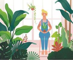 una donna è seduta in una serra piena di piante. vettore