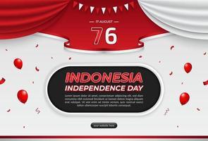 17 agosto, modello di sfondo orizzontale del giorno dell'indipendenza dell'indonesia con posto di testo vettore