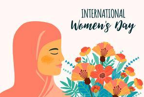 Giornata internazionale della donna. Modello di vettore con donna araba e fiori