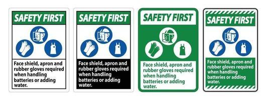 sicurezza primo segno visiera, grembiule e guanti di gomma necessari quando si maneggiano le batterie o si aggiunge acqua con i simboli DPI vettore