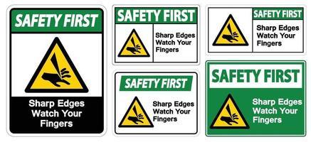 sicurezza prima spigoli vivi guarda le tue dita simbolo segno isolare su sfondo bianco, illustrazione vettoriale eps.10