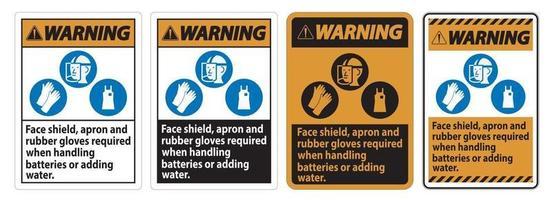 segnale di avvertimento visiera, grembiule e guanti di gomma necessari quando si maneggiano le batterie o si aggiunge acqua con i simboli dei DPI vettore