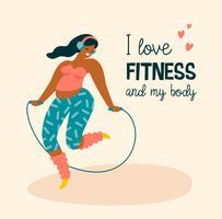 Corpo positivo. Happy plus size ragazza e stile di vita attivo. vettore