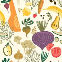 Vector seamless con verdure e frutta.