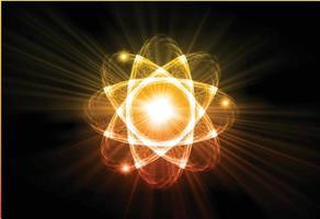 schema atomo brillante blu. illustrazione vettoriale