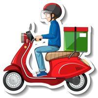un modello di adesivo con fattorino su scooter vettore