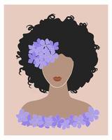 carina giovane donna nera con capelli ricci e fiore di ortensia viola. bruna ragazza acconciatura afro ritratto di colore pastello. poster di stampa di moda boho wall art di tendenza. illustrazione vettoriale d'archivio.