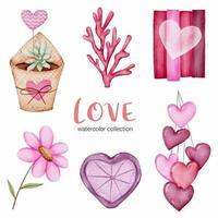 set di grande isolato concetto di San Valentino acquerello elemento adorabile romantico rosso-rosa cuori per la decorazione, illustrazione vettoriale. vettore