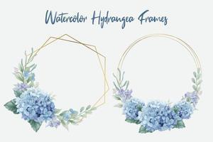 cornici di fiori di ortensia ad acquerello vettore
