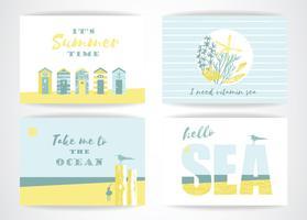 Set di carte estive con elementi di disegno a mano. vettore