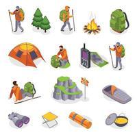 set di icone dell'ingranaggio dei campeggiatori illustrazione vettoriale