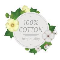 illustrazione vettoriale di composizione rotonda fiore di cotone