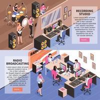 studio di registrazione e illustrazione vettoriale di trasmissione radiofonica