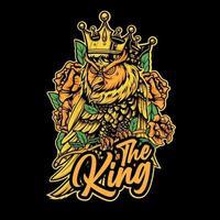 il re gufo indossa una corona con rose intorno vettore