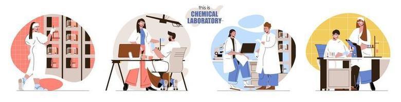 questo è il set di scene concettuali di laboratorio chimico vettore