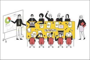 le persone sono sedute a un grande tavolo in azienda, hanno una riunione e una persona sta facendo una presentazione. illustrazioni di disegno vettoriale. vettore