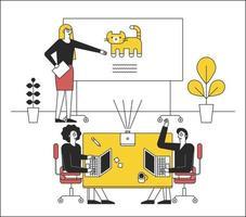 a un tavolino in ufficio, i colleghi sono seduti e uno sta facendo una presentazione. illustrazioni di disegno vettoriale. vettore