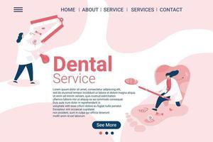 modello web di clinica odontoiatrica, cure dentistiche, modello web di schermo in stile cartone animato per telefono cellulare vettore