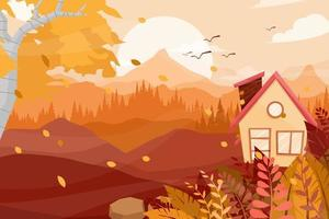 la migliore posizione nella natura con la casa sull'illustrazione vettoriale del paesaggio collinare