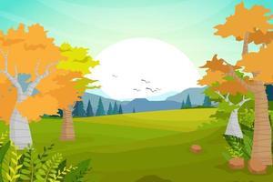 illustrazione vettoriale scena della natura cartone animato di foresta e collina