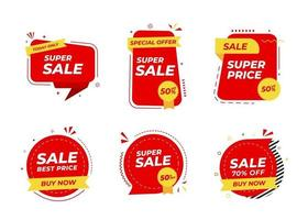 progettazione di modelli di banner di vendita. tag di offerta speciale. sconti super saldi. sconto vendita flash. mega offerta di vendita. grande vendita. vendita speciale. set vettoriale tag sconto