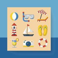 le icone delle vacanze estive di disegno viaggiano sulla spiaggia in un cartone animato vettore