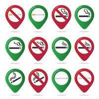 16 non fumatori e fumatori marcatore mappa pin icona segno impostato con design piatto sigaretta gradiente nel cerchio rosso proibito. simbolo dell'area fumatori nelle app della mappa isolato su sfondo bianco. vettore