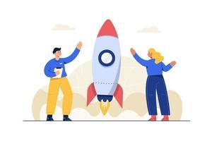 stile cartone animato. il successo aziendale deriva dalla collaborazione di molte parti. come un razzo spinto dalla pressione vettore