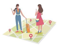 un giovane turista chiede informazioni su un luogo cittadino a una giovane donna che vive nella città che visita. vettore