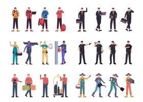 pacchetto di molti personaggi di carriera 6 set, 24 pose di varie professioni, stili di vita, vettore