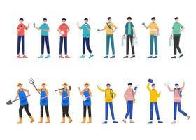 pacchetto di 4 set di personaggi uomo, 16 pose di varie professioni, stili di vita, carriera vettore