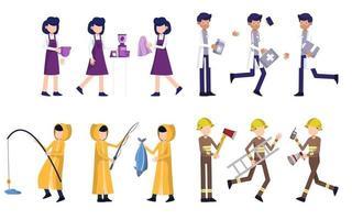pacchetto di molti personaggi della carriera 4 set, 12 pose di varie professioni, stili di vita, vettore
