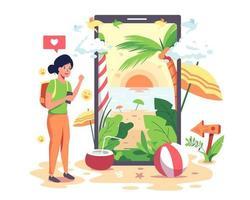 le ragazze vanno su Internet per trovare e prenotare alloggi sulla spiaggia con i loro telefoni cellulari. vettore