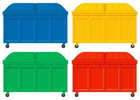 Quattro camion della spazzatura con ruote
