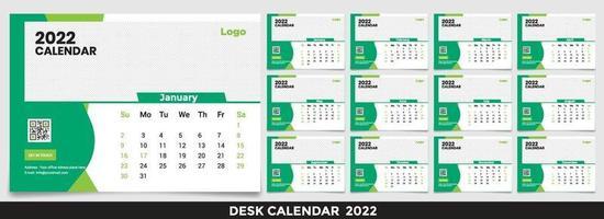 calendario 2022, imposta il design del modello di calendario da tavolo con posto per foto e logo aziendale. la settimana lunedì la domenica. set di 12 mesi vettore