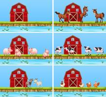 Set di scene di animali e di fattoria