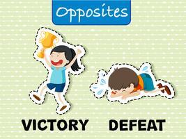 Parole opposte per vittoria e sconfitta vettore