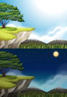 Scena della natura della scogliera durante la notte e il giorno