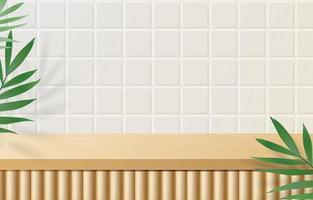 vuoto minimo tavolo superiore in legno, podio in legno su sfondo bianco con foglie verdi. per la presentazione del prodotto, mock up, mostra display di prodotti cosmetici, podio, piedistallo da palcoscenico o piattaforma. vettore 3d